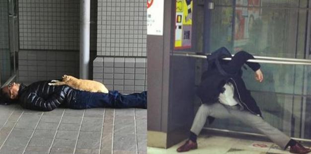 【爆笑】一体なぜそこで力尽きた…渋谷で爆睡しているありえない人 top14