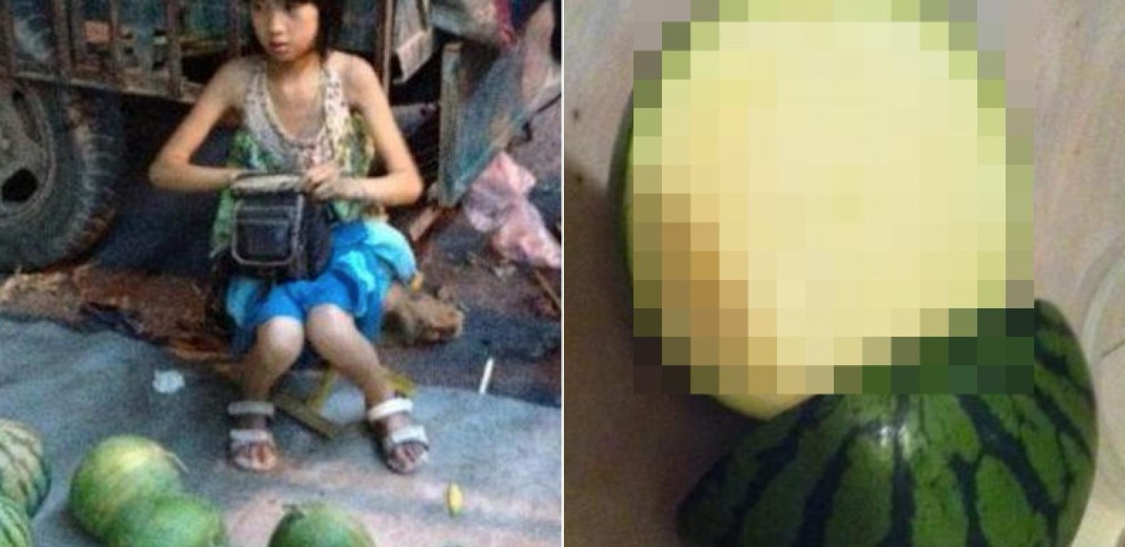 【閲覧注意】さすが中国!?中国の小学生女子が路上で売る「スイカ」が色々ヤバすぎる・・・