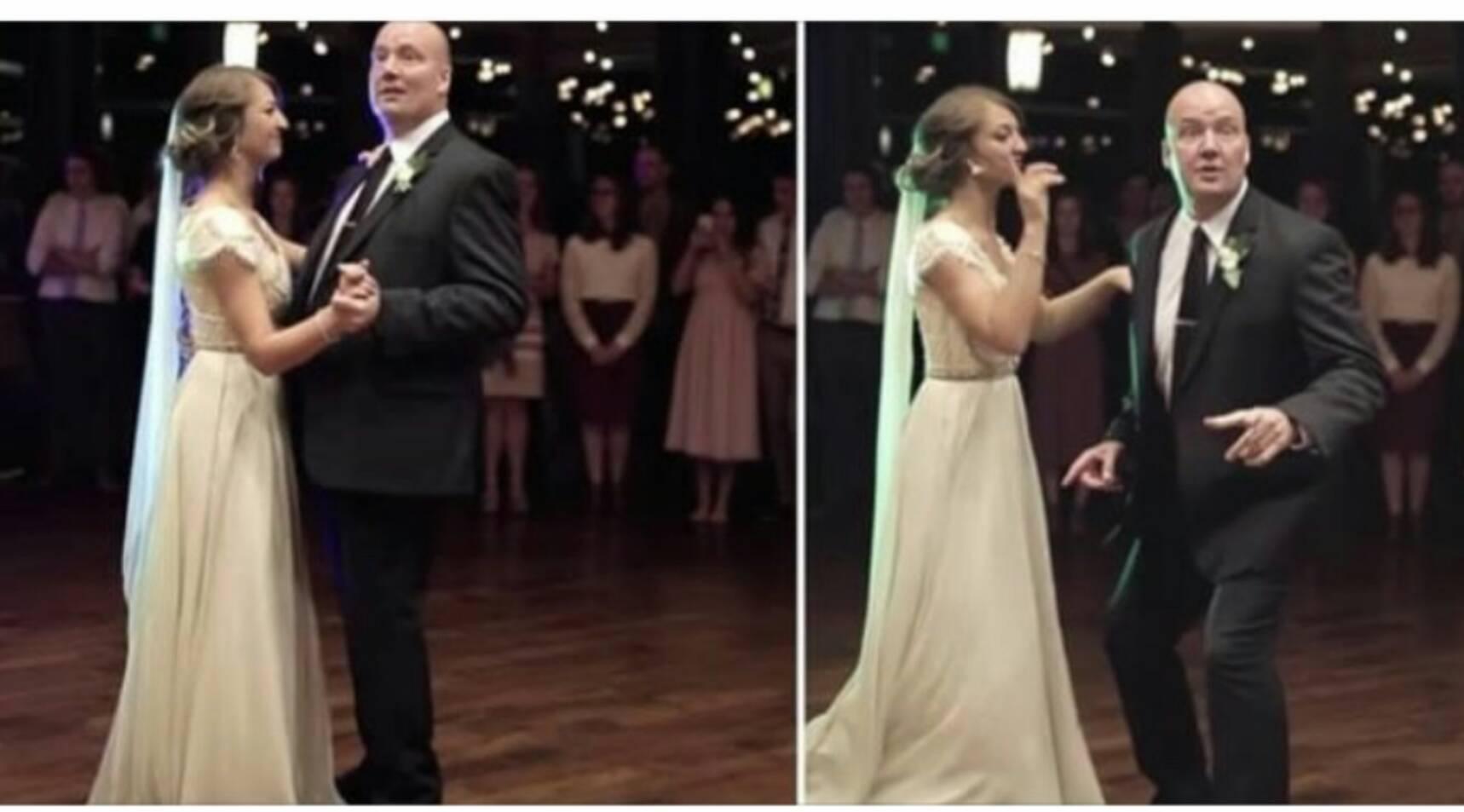 父と娘がセンセーショナルなウエディングダンスでゲストを驚かせる