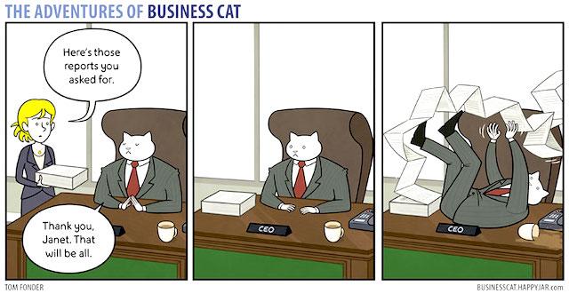 「分かる分かる!」もしも猫がビジネスマンだったら・・・の漫画に共感の声続出!